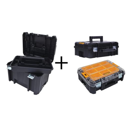 DEWALT TSTAK VI 17 in. Deep Tool Box, TSTAK II Deep Tool Box and TSTAK V Small Parts Organizer Combo Set (3 Components)