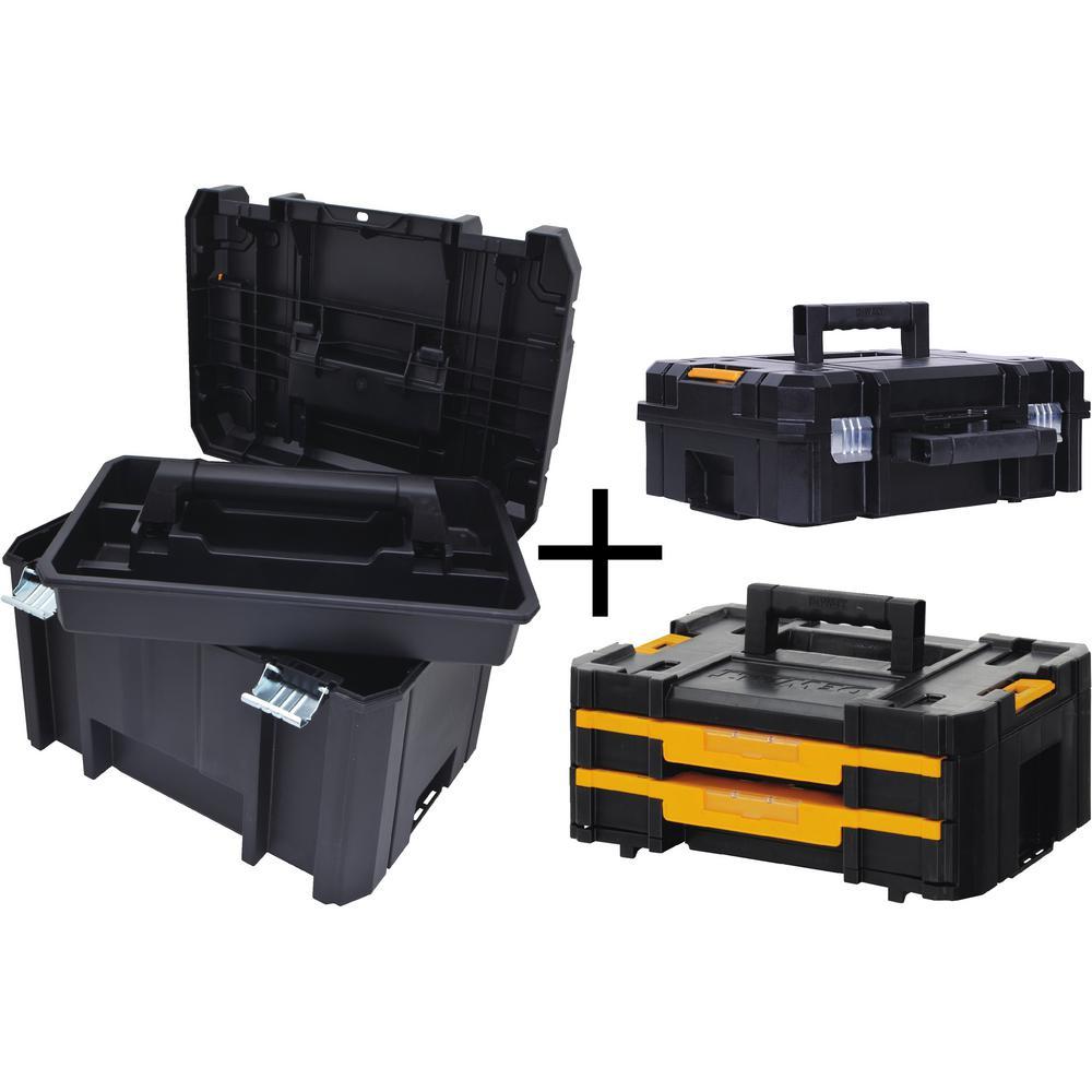 DEWALT TSTAK VI 17 in. Deep Tool Box, TSTAK II Deep Tool Box and TSTAK IV Small Parts Organizer Combo Set (3 Components)