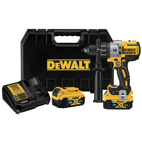 Dewalt DCD997P2BT 20V MAX XR 5.0 Ah Cordless Lithium-Ion Tool Connect Compact Hammer Drill Kit