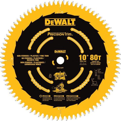 Dewalt DW3219PT 10 in. 80 Tooth Precision Trim Fine Crosscutting Saw Blade