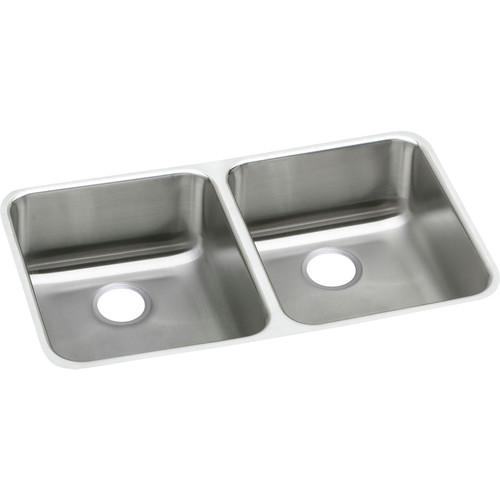 Elkay ELUHAD311845 Lustertone Undermount 30-3/4 in. x 18-1/2 in. Equal Double Bowl ADA Sink (Stainless Steel)