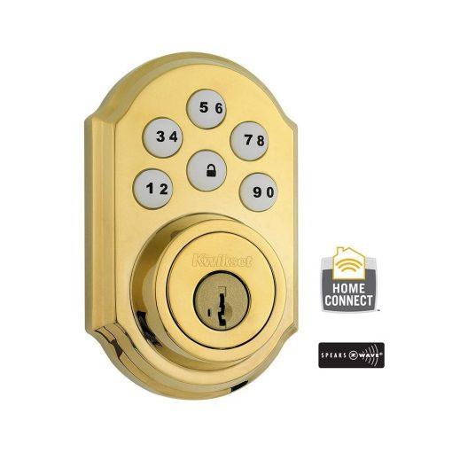 Kwikset Z-Wave SmartCode Lifetime Polished Brass Single Cylinder Electronic Deadbolt Featuring SmartKey Security