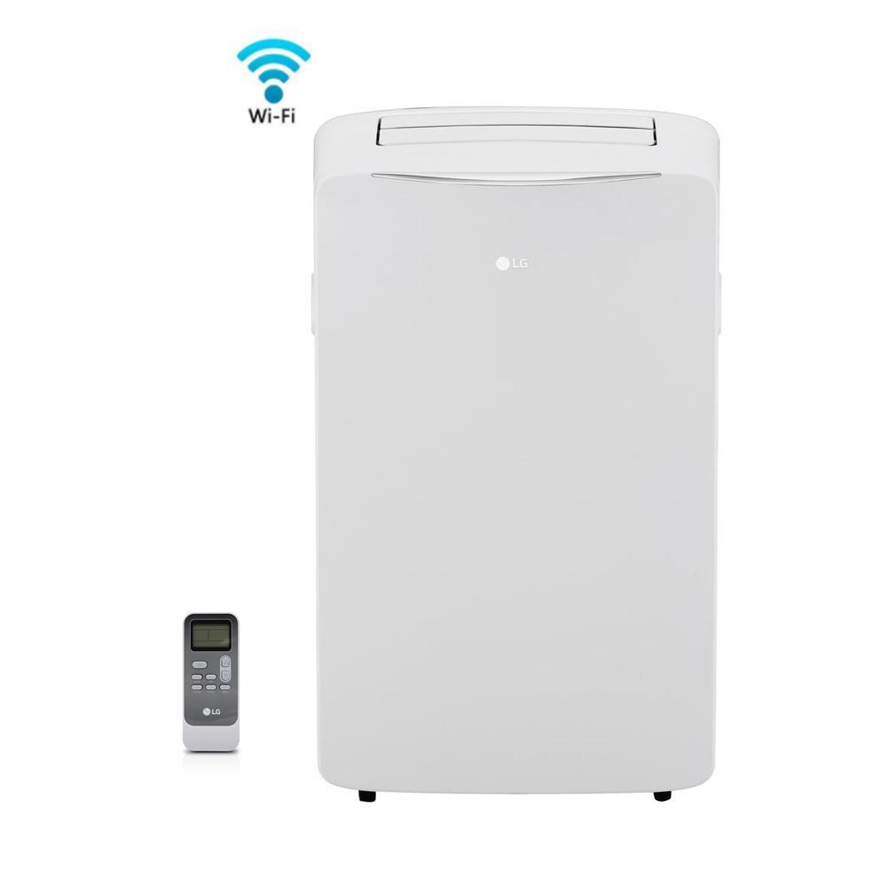 LG Electronics 14,000 BTU (8,000 BTU, DOE), 115-Volt Smart, Wi-Fi Portable AC w/ Dehumidifier Function and LCD Remote in White