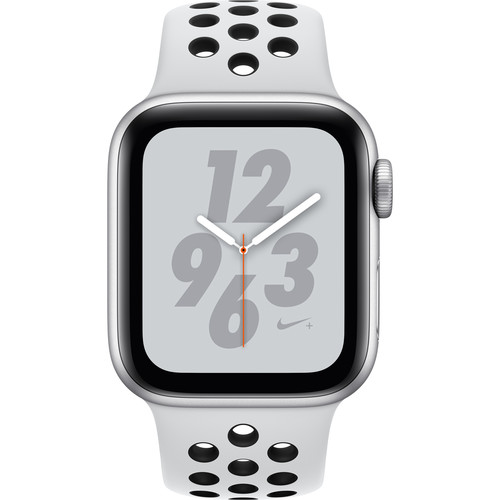 Apple Watch Nike+ Series 4 (GPS + Cellular, 40mm, Silver Aluminum, Pure PlatinumBlack Nike Sport Band)