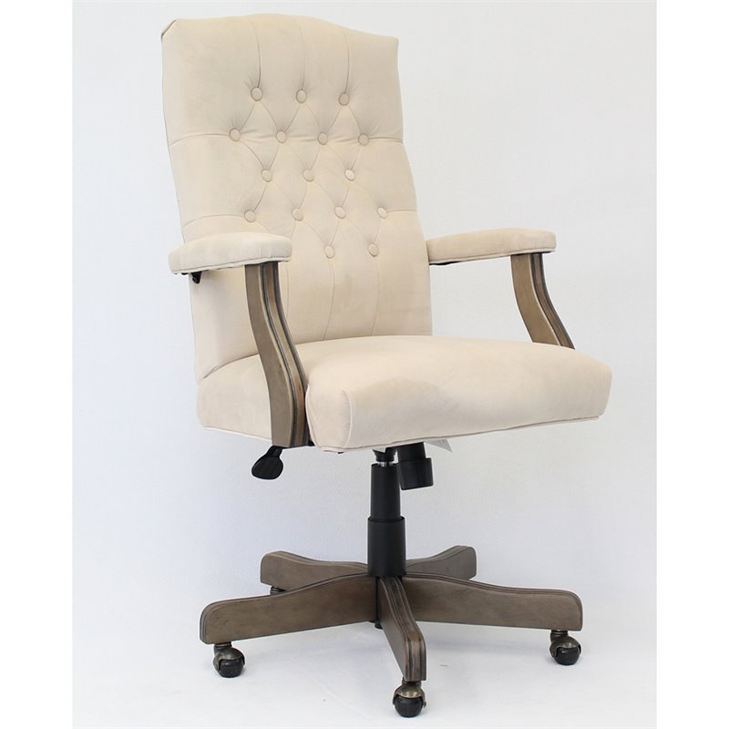 Boss Office Albany Tufted Swivel Executive Office Chair in Champagne