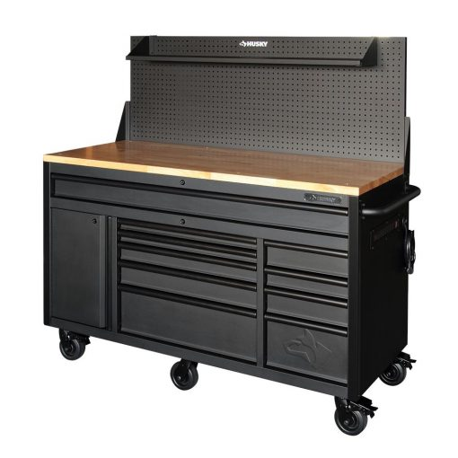 Husky 61 in. 10-Drawer 1-Door 24 in. D Mobile Workbench with Pegboard and Shelf in Textured Black Matte