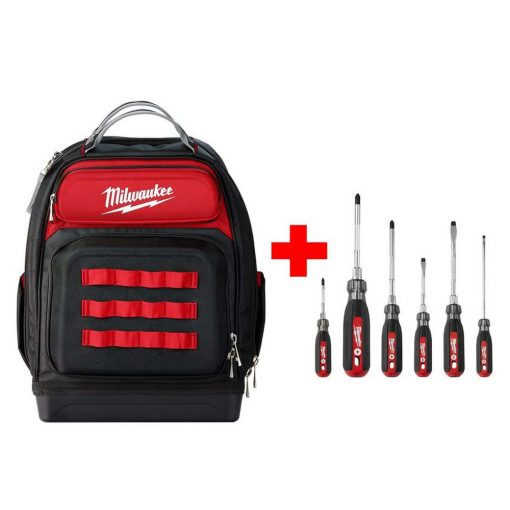 Milwaukee Ultimate Jobsite Black 15 in. Backpack with Screwdriver Cushion Grip Set (6-Piece)