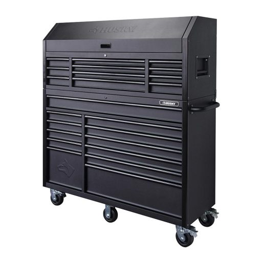 Husky 56 in. 23-Drawer Tool Chest and Rolling Cabinet Set 18 Ga. Steel 22 in. D, Textured Black Matte
