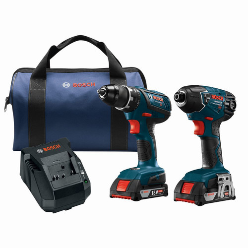 Factory Reconditioned Bosch CLPK237A-181-RT 18V 4.0 Ah Cordless Lithium-Ion Hammer Drill and Impact Driver Combo Kit