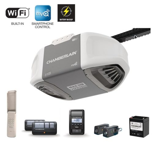 Chamberlain 1-1/4 HP Smartphone-Controlled Durable Chain Drive Garage Door Opener with Battery Backup and MAX Lifting Power
