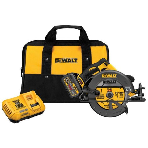 DEWALT FLEXVOLT 60-Volt MAX Lithium-Ion Cordless Brushless 7-1/4 in. Circular Saw with Battery 2Ah, 1-Hour Charger and Case