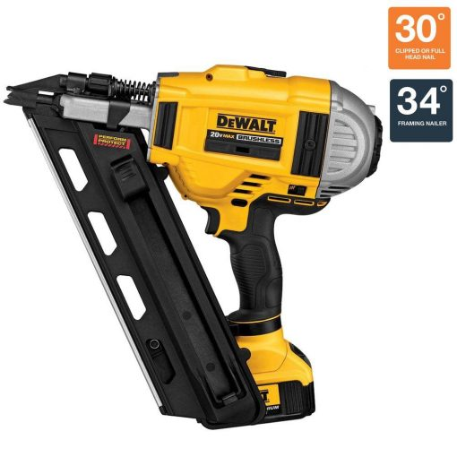 DEWALT 20-Volt MAX XR Lithium-Ion Cordless Brushless 2-Speed 33-Degree Framing Nailer with Battery 4Ah and Charger