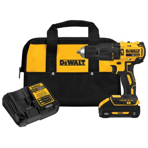 DEWALT 20-Volt MAX Lithium-Ion Cordless Brushless 1/2 in. Compact Hammer Drill with Battery 3.0Ah, Charger and Contractor Bag