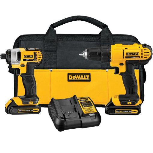 DEWALT 20-Volt MAX Lithium-Ion Cordless Drill/Driver and Impact Combo Kit (2-Tool) with (2) Batteries 1.3Ah, Charger and Bag