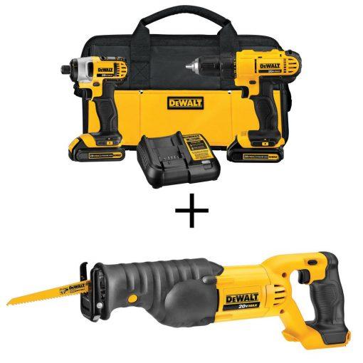 DEWALT 20-Volt MAX Lithium-Ion Cordless Drill/Driver & Reciprocating Saw Combo Kit (2-Tool) w/ (2) 20-Volt MAX Batteries 1.3Ah