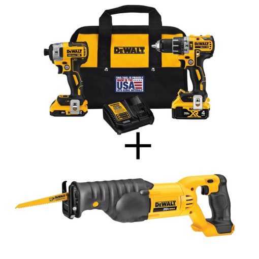 DEWALT 20-Volt MAX XR Lithium-Ion Cordless Brushless Drill/Impact Combo Kit (2-Tool) with Bonus Bare Cordless Reciprocating Saw
