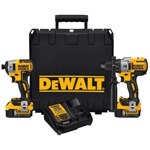 DEWALT 20-Volt MAX XR Lithium-Ion Cordless Brushless Hammerdrill/Impact Combo Kit (2-Tool) with (2) Batteries 5Ah and Charger
