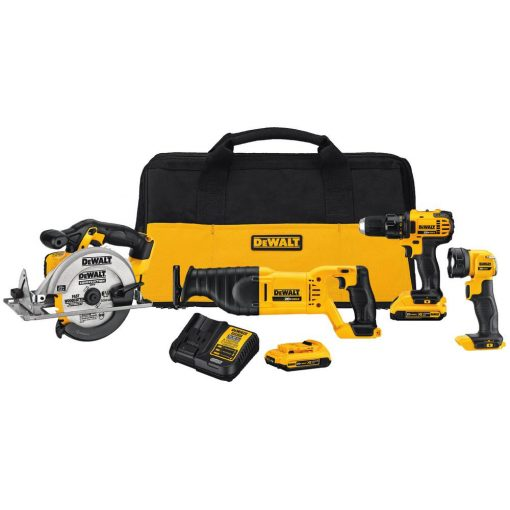 DEWALT 20-Volt MAX Lithium-Ion Cordless Drill/Driver Combo Kit (4-Tool) with (2) 20-Volt Batteries 2.0Ah, Charger and Tool Bag