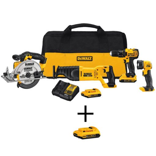 DEWALT 20-Volt MAX Lithium-Ion Cordless Combo Kit (4-Tool) with (2) Batteries 2Ah, Charger, Kit Bag and Bonus Battery Pack 2Ah