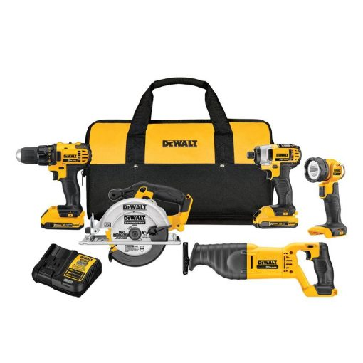 DEWALT 20-Volt MAX Lithium-Ion Cordless Combo Kit (5-Tool) with (2) Batteries 2Ah, Charger and Contractor Bag