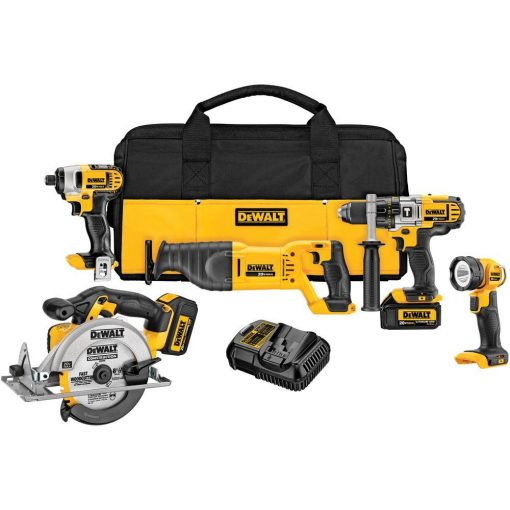 DEWALT 20-Volt MAX Lithium-Ion Cordless Hammer Drill & Impact Driver Combo Kit (5-Tool), (2) 20-Volt Batteries 3.0Ah, Charger