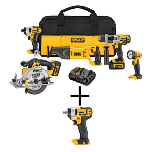 DEWALT 20-Volt MAX Lithium-Ion Cordless Combo Kit (5-Tool) with Bonus Bare Cordless 3/8 in. Impact Wrench with Hog Ring