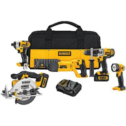 DEWALT 20-Volt MAX Lithium-Ion Cordless Combo Kit (5-Tool) with (2) 20-Volt Batteries 3.0Ah, Charger and Tool Bag