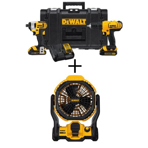 DEWALT 20-Volt MAX Lithium-Ion Cordless Drill/Driver and Impact Combo Kit (2-Tool) with Bonus Bare Jobsite Fan