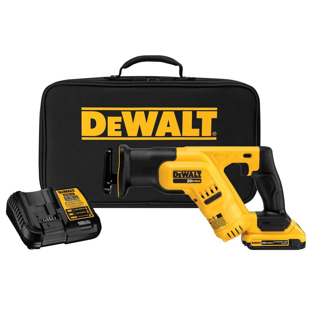 DEWALT 20-Volt MAX Lithium-Ion Cordless Compact Reciprocating Saw with Battery 2Ah, Charger and Kit Bag