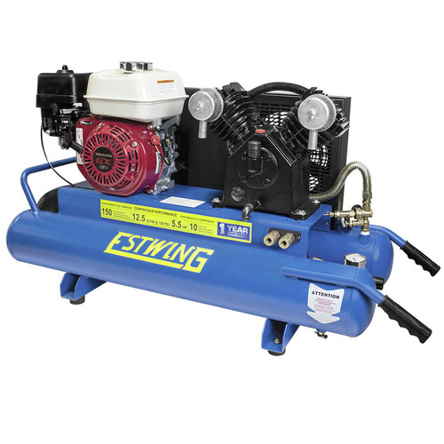 Estwing E10GCOMP 10 Gal./5.5 HP Portable Gas-Powered Twin Stack Air Compressor with Honda GS 160 4-Stroke Engine