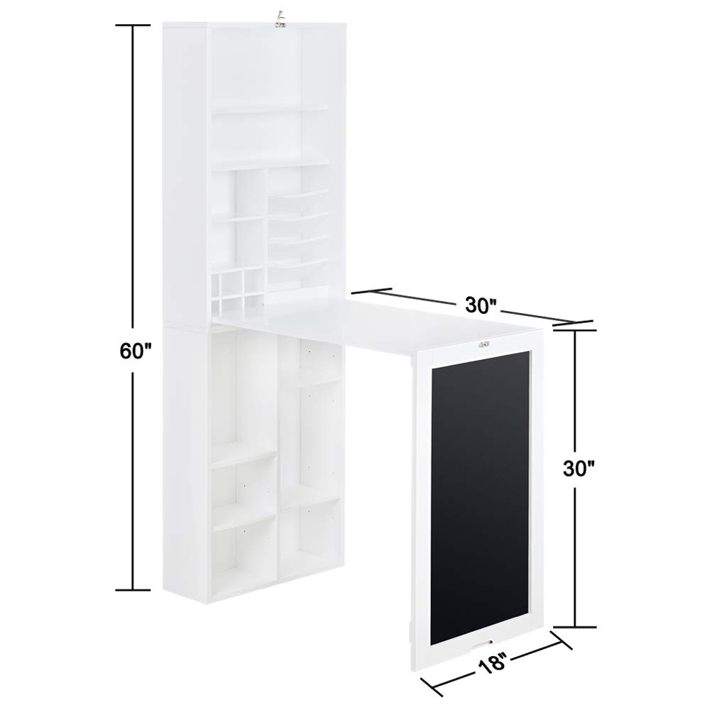 Utopia Alley Collapsible Fold Down Desk Table/Wall Cabinet with Chalkboard and Bottom Shelf, White