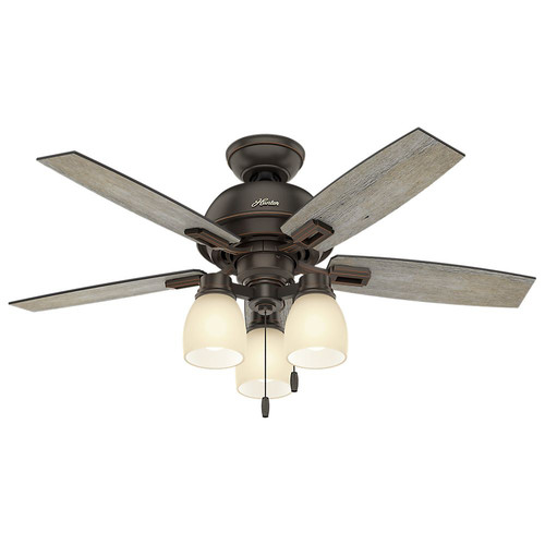 Hunter 52228 44 in. Donegan Onyx Bengal Ceiling Fan with Light