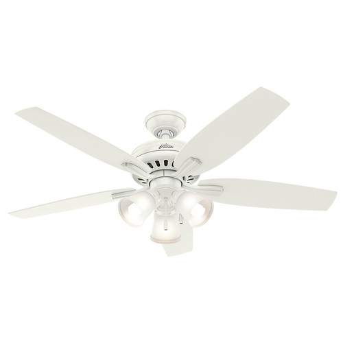 Hunter 53316 52 in. Newsome Fresh White Ceiling Fan with Light