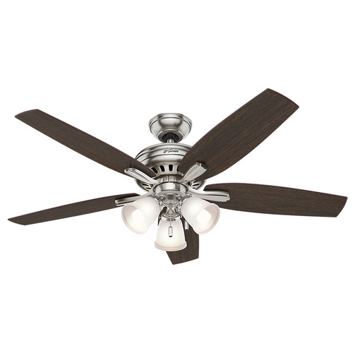 Hunter 53318 52 in. Newsome Brushed Nickel Ceiling Fan with Light