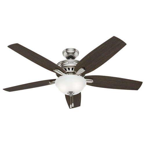 Hunter 54162 56 in. Newsome Brushed Nickel Ceiling Fan with Light