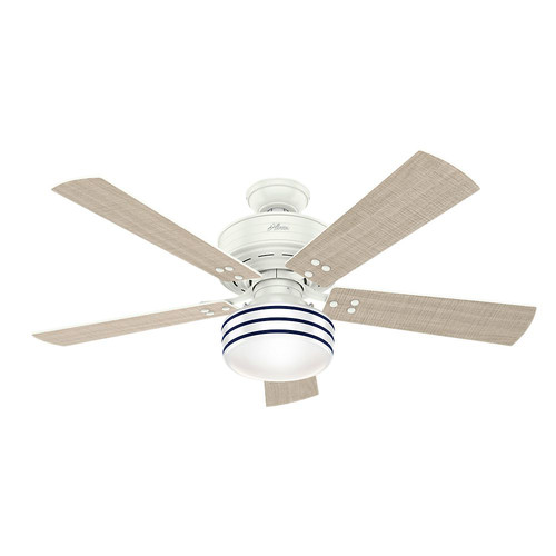 Hunter 55077 52 in. Cedar Key Fresh White Ceiling Fan with Light and Integrated Control System-Handheld