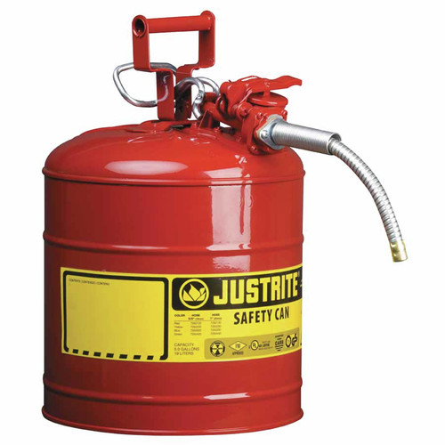 Justrite 7250120 Type II Accuflow Steel Safety Can for Flammables (5 Gallons)
