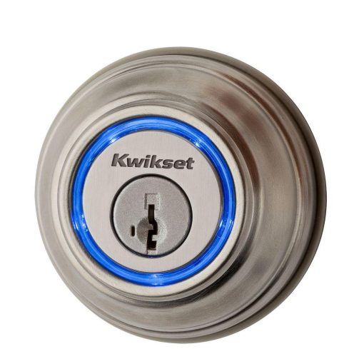Kwikset Kevo 2nd Gen Satin Nickel Single Cylinder Touch-to-Open Bluetooth Smart Lock Deadbolt Works with many Smart Devices