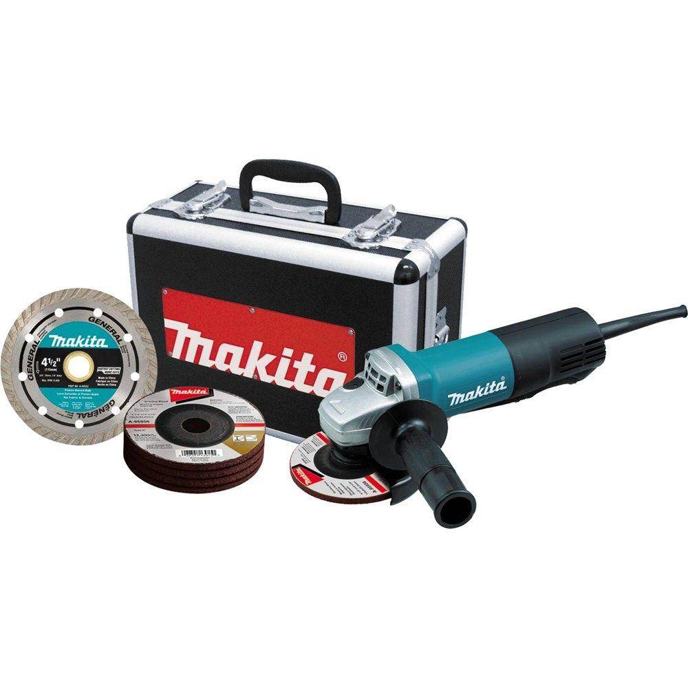 Makita 7.5 Amp Corded 4-1/2 in. Paddle Switch Grinder with Aluminum Case, Diamond Blade and Grinding Wheels