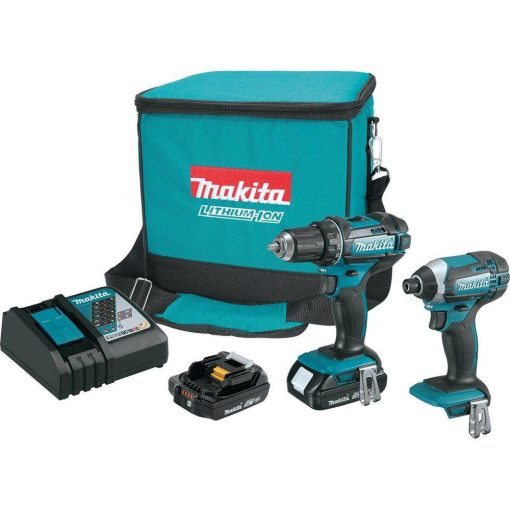 Makita 18-Volt LXT Lithium-Ion Cordless Driver Drill and Impact Driver Combo Kit (2-Tool) w/ (2) 2Ah Batteries, Charger, Bag