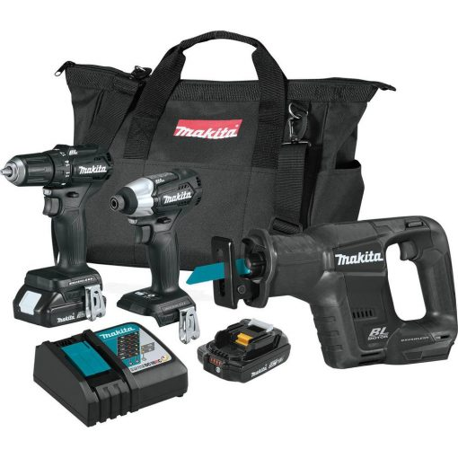 Makita 18-Volt LXT Lithium-Ion Sub-Compact Brushless Cordless 3-piece Combo Kit (Driver-Drill/Impact Driver/Recipro Saw) 2.0Ah