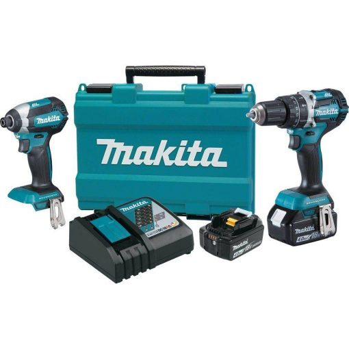 Makita 18-Volt LXT Lithium-Ion Brushless Cordless Hammer Drill and Impact Driver Combo Kit (2-Tool) w/ (2) 4Ah Batteries, Case