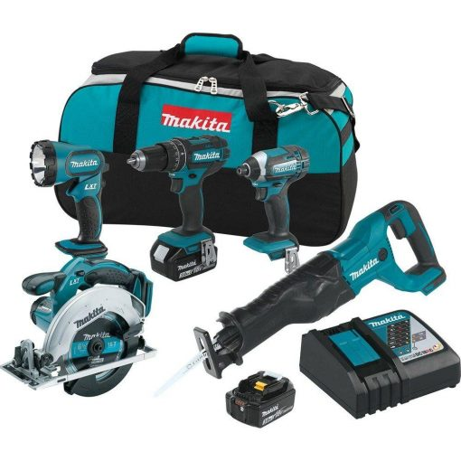 Makita 18-Volt LXT Lithium-Ion Cordless Combo Kit (5-Tool) with (2) 3.0 Ah Batteries, Rapid Charger and Tool Bag