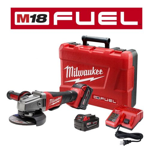 Milwaukee M18 FUEL 18-Volt Lithium-Ion Brushless Cordless 4-1/2 in. /5 in. Grinder W/ Paddle Switch Kit W/ (2) 5.0Ah Batteries