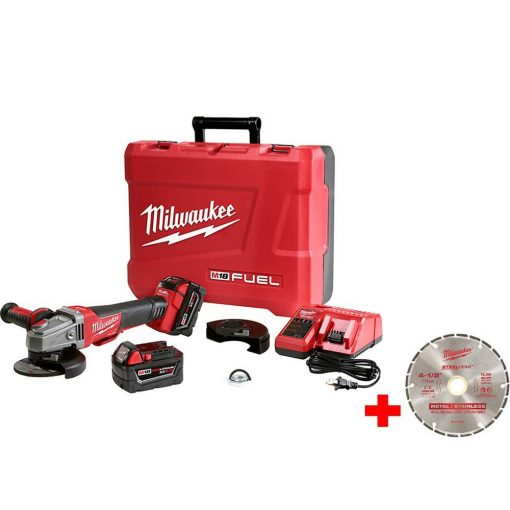 Milwaukee M18 FUEL 18-Volt Lithium-Ion Brushless Cordless 4-1/2 in./5 in. Braking Grinder Kit with 4-1/2 in. Diamond Blade