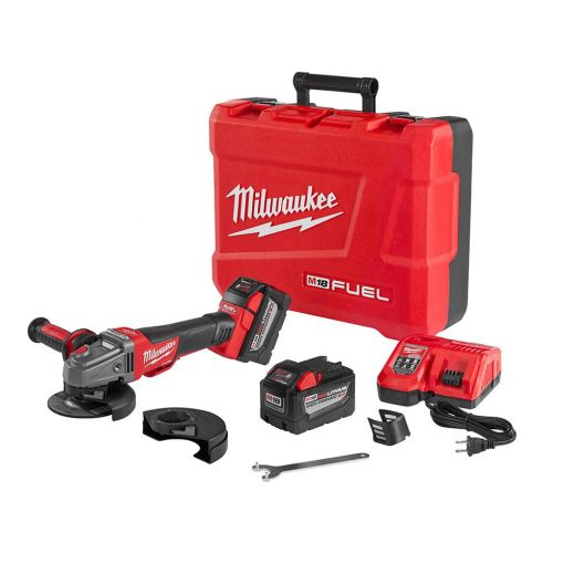 Milwaukee M18 FUEL 18-Volt Lithium-Ion Brushless Cordless 4-1/2 in./5 in. Braking Grinder Kit W/(2) 9.0Ah Batteries,Rapid Charger