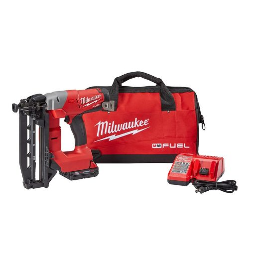 Milwaukee M18 FUEL 18-Volt Lithium-Ion Brushless Cordless 16-Gauge Straight Finish Nailer Kit W/ (1) 2.0Ah Battery, Charger & Bag