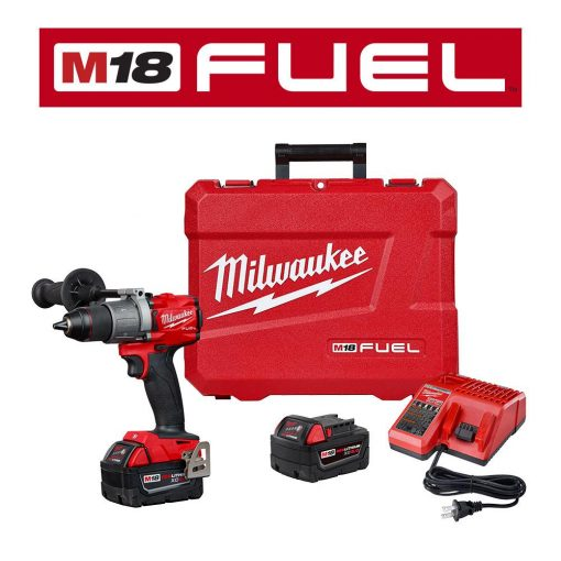 Milwaukee M18 FUEL 18-Volt Lithium-Ion Brushless Cordless 1/2 in. Hammer Drill Driver Kit with Two 5.0 Ah Batteries and Hard Case