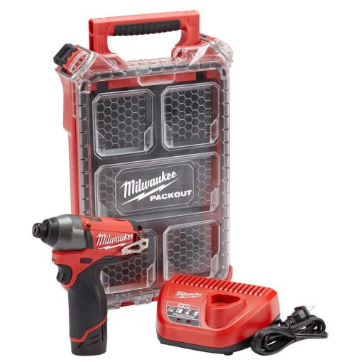Milwaukee M12 Fuel 12-Volt Lithium-Ion Brushless Cordless 1/4 in. Hex Impact Driver Kit with Free PACKOUT Case