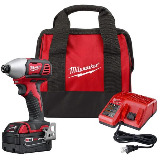 Milwaukee M18 18-Volt Lithium-Ion Cordless 1/4 in. Hex Impact Driver Kit with One 3.0Ah Battery, Charger and Bag
